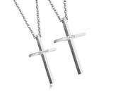 (Silver) Immanuel Cross Engravable Couple Necklace - Loville.co