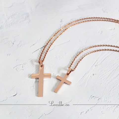 (Rose Gold) Classic Cross Engravable Couple Necklace