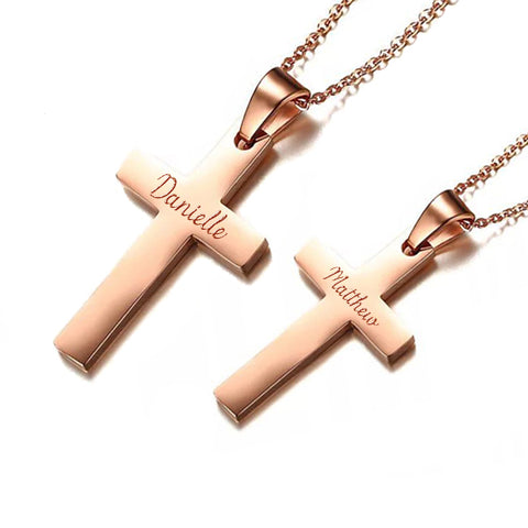 (Rose Gold) Classic Cross Engravable Couple Necklace - Loville.co