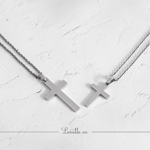 (Silver) Classic Cross Engravable Couple Necklace