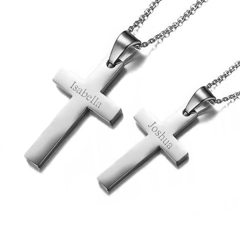 (Silver) Classic Cross Engravable Couple Necklace - Loville.co