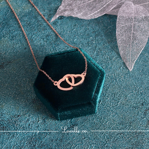 (Rose Gold) Gloria Interlock Love Necklace