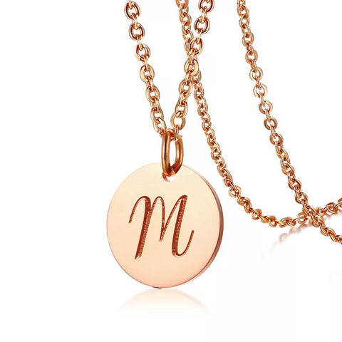 (Rose Gold) Bonie Round Engravable Necklace - Loville.co