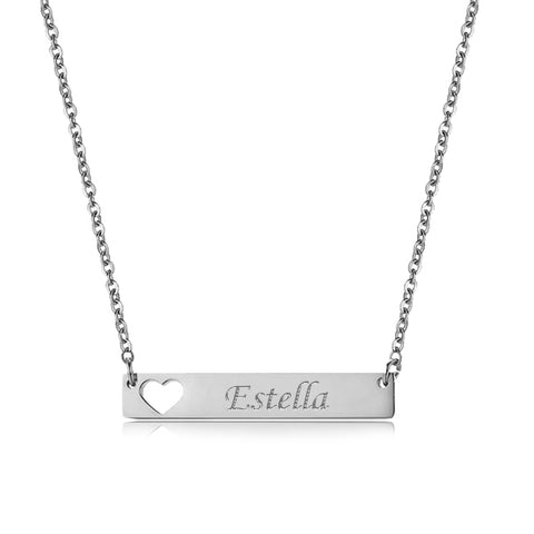 (Silver) Elodie Pierced Heart Engravable Necklace - Loville.co