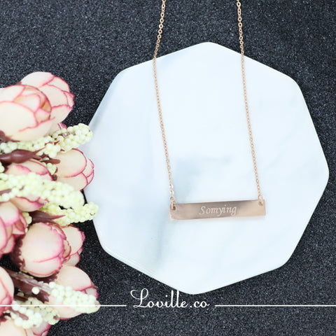 (Rose Gold) Elodie Pierced Heart Engravable Necklace - Loville.co