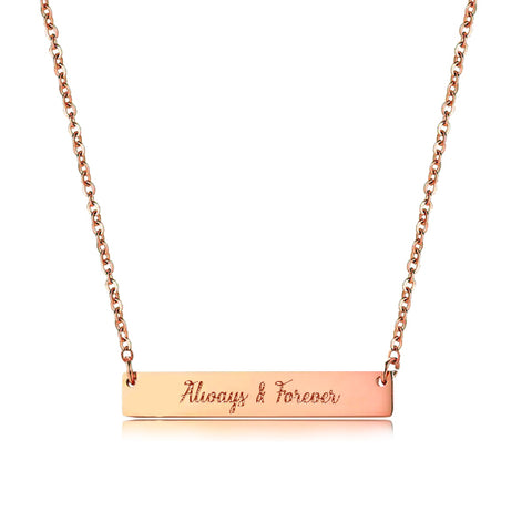 (Rose Gold) Janice Rectangular Plate Engravable Necklace - Loville.co