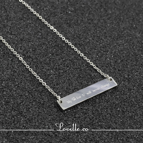 (Silver) Janice Rectangular Plate Engravable Necklace - Loville.co