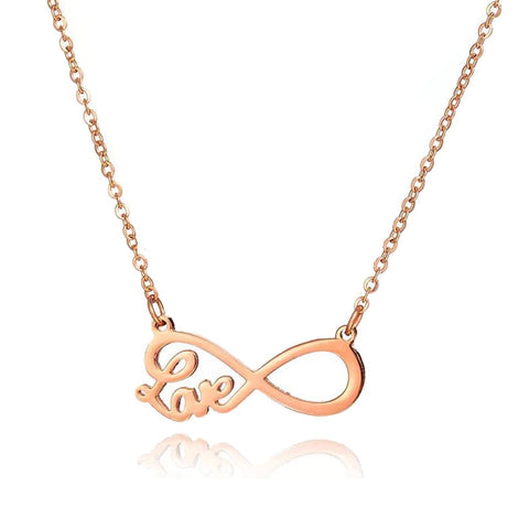 Infinity Love Necklace in Rose Gold
