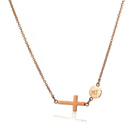 Croix Necklace in Rose Gold