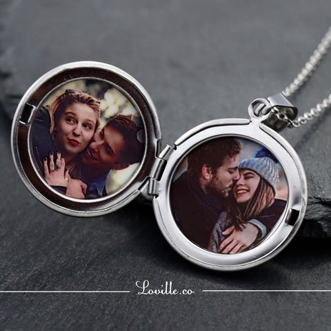 Eva Round Locket Engravable Necklace - Loville.co