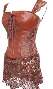 ROSA FAUX LEATHER CORSET DRESS