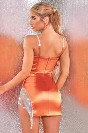 AMARETTO SATIN SPARKLE DRESS