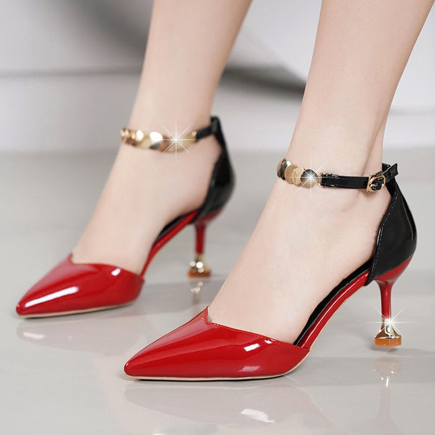 Scarlet Shiny Two Toned heels