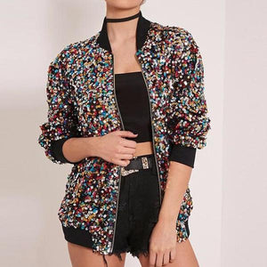 Stylish Sequins Casual Overcoat