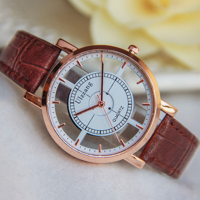 Double Hollow Stylish Ladies Watch