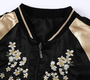 Embroidery Satin Baseball Jacket for Women