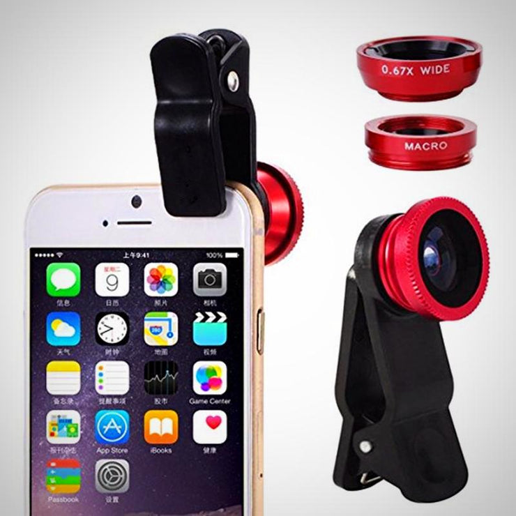 Fish Eye 3 in 1 + Phone Clip Lens