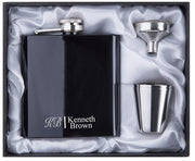 PERSONALIZED BEST MAN GIFT  OF 6OZ  BLACK STAINLESS STEEL HIP FLASK