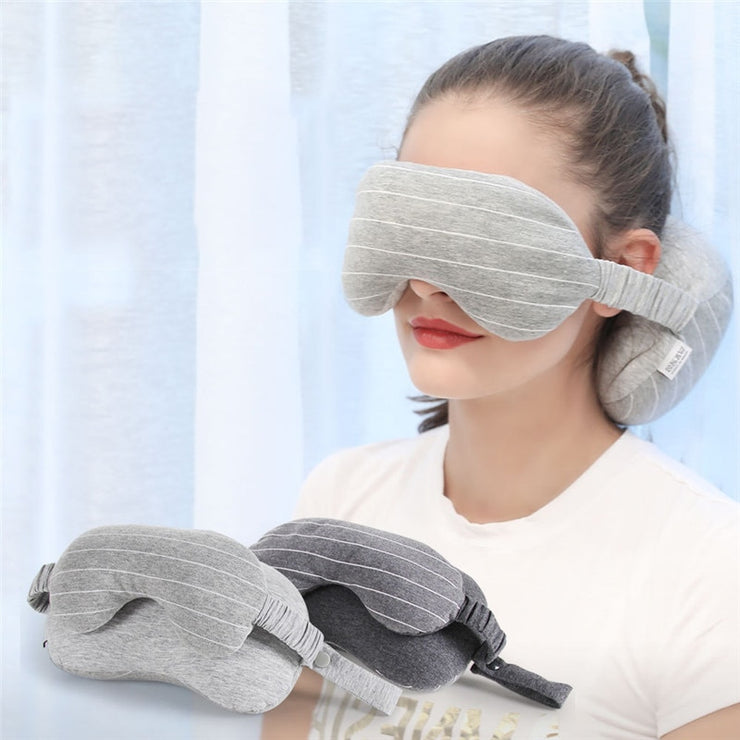 NEW! 2 IN 1 GREY TRAVEL NECK PILLOW
