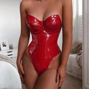 Model Wearing Latex Leather Lingerie Bodysuit In Red A Corset And Bdsm Style For Boudoir Onlyfans
