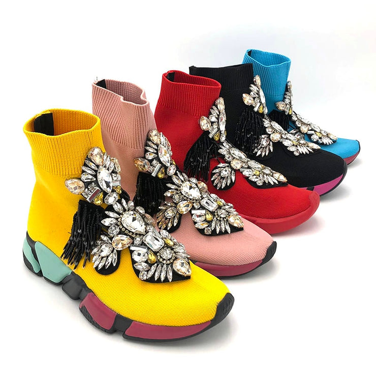 EXCLUSIVE CRYSTAL ANKLE BOOTS