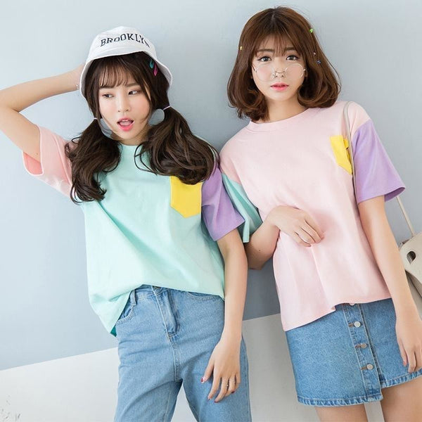 T-Shirt Summer Korean Style Hit Color Crew Neck - The KPOP Life