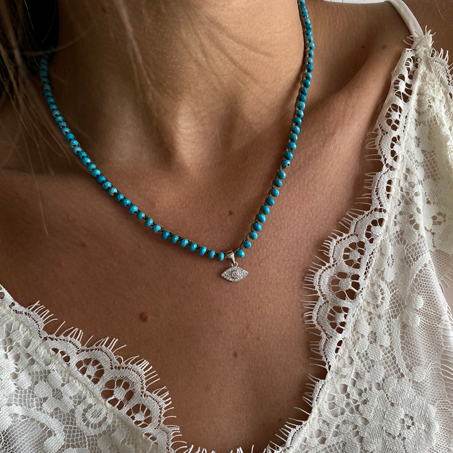 Knitted Turquoise Evil Eye - SEA Smadar Eliasaf
