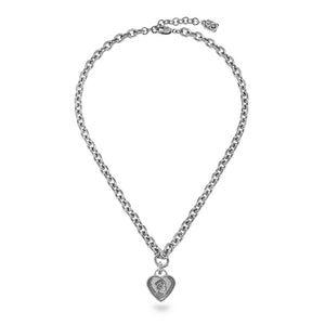 Rihanna Short Chain Necklace with Heart Pendant - Silver - SEA Smadar Eliasaf