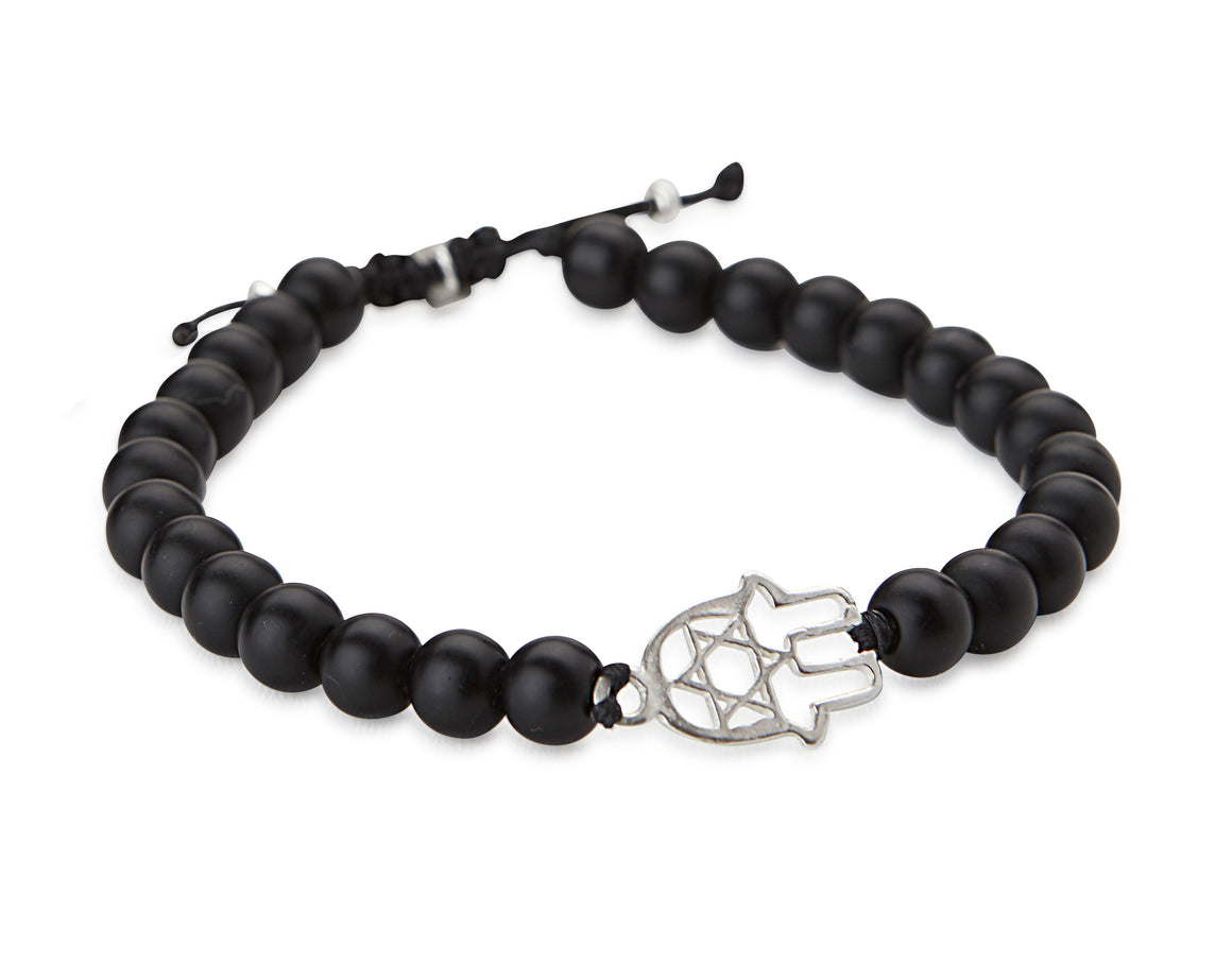 BLACK STONES AND HAMSA BRACELET - SEA Smadar Eliasaf