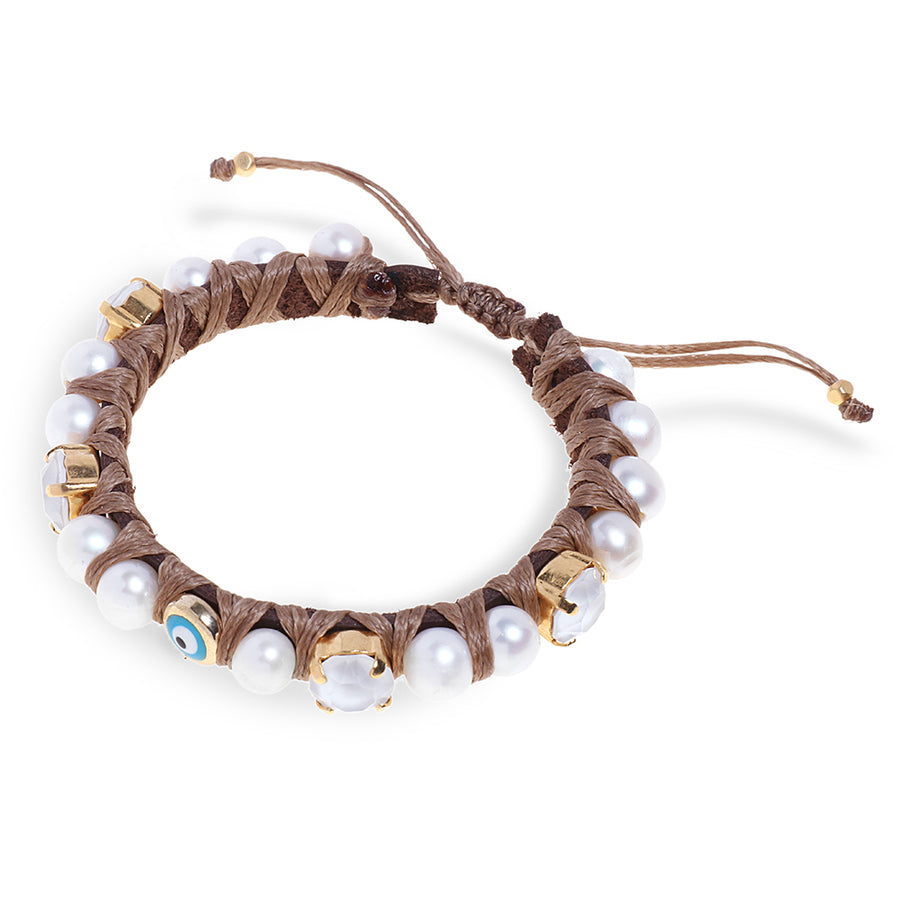 Brown Leather with Eye Element Bracelet - SEA Smadar Eliasaf