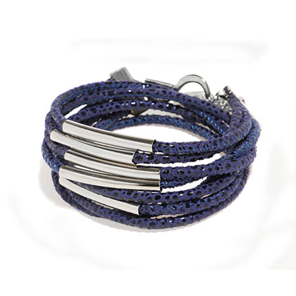 Shiny pipes blue leather bracelet - SEA Smadar Eliasaf