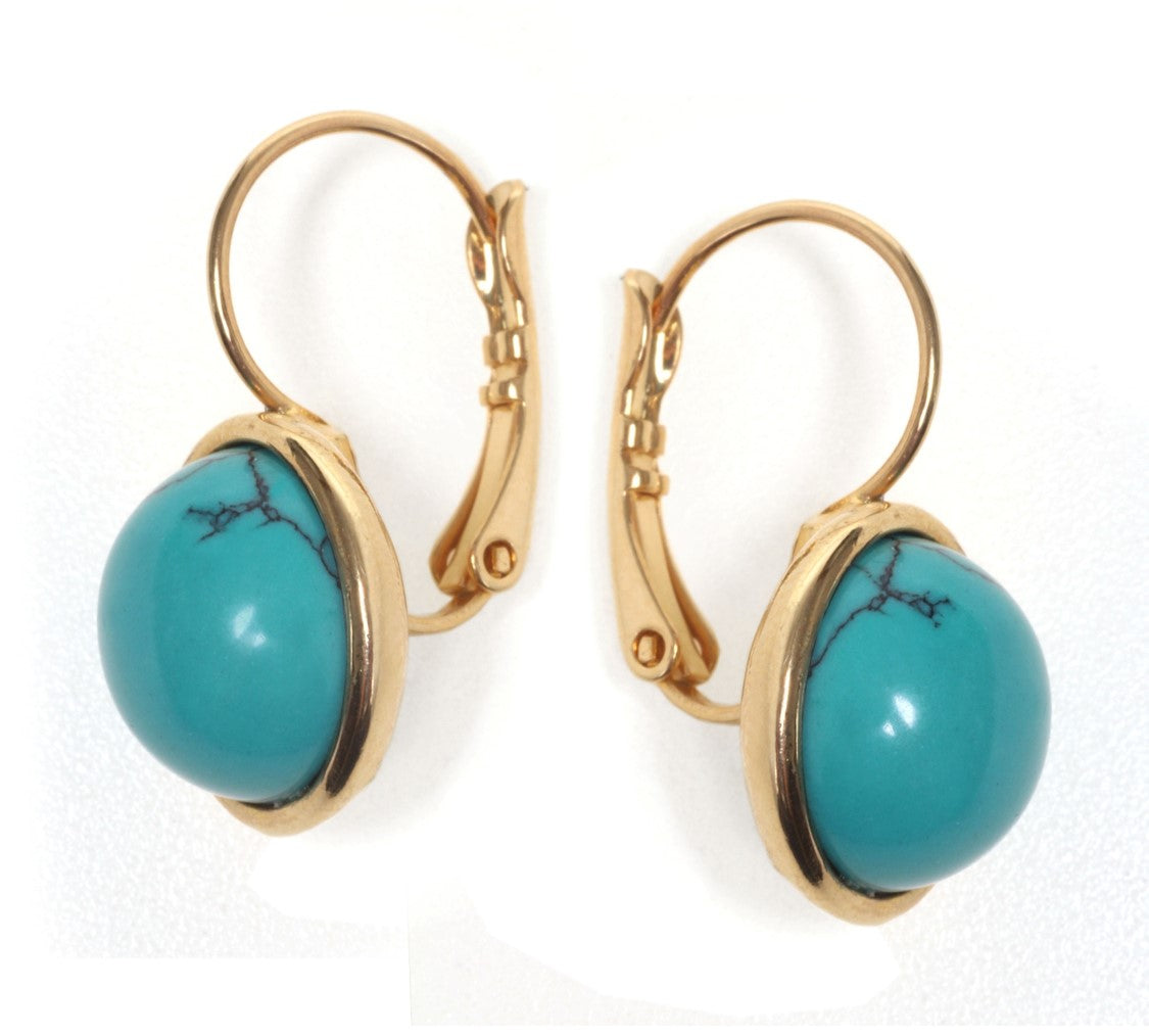 Classic Golden Turquoise Earrings - SEA Smadar Eliasaf