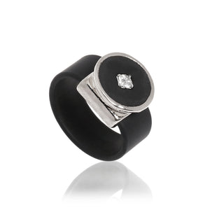 Crystal Dot Leather Ring - Silver - SEA Smadar Eliasaf