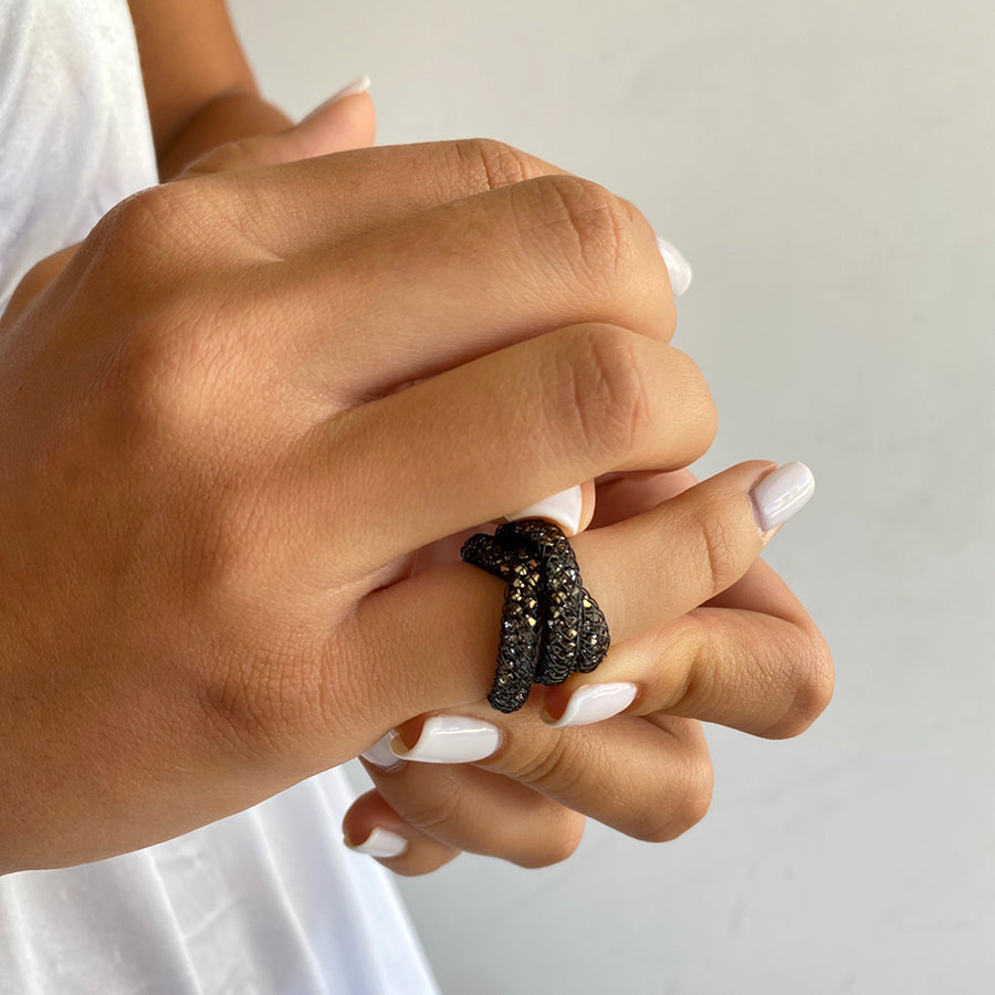 Crystal Black Spark Ring - 3 windings - SEA Smadar Eliasaf
