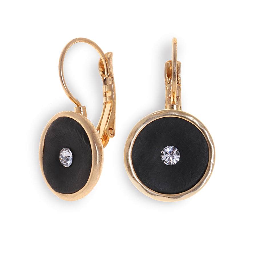 Golden Single Zircon Earrings - SEA Smadar Eliasaf
