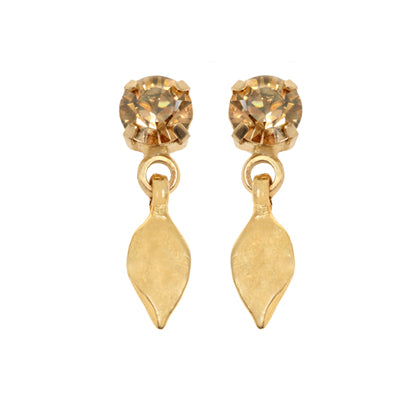 Golden crystal and leaf earrings