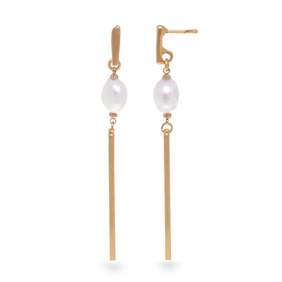 Golden Line Earrings with Pearls - SEA Smadar Eliasaf