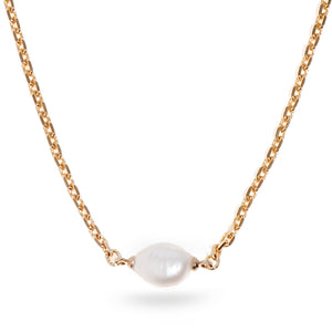 Round Pearl Necklace - Golden - SEA Smadar Eliasaf