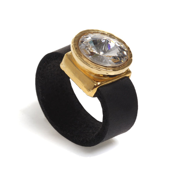 Crystal and leather gold plated ring