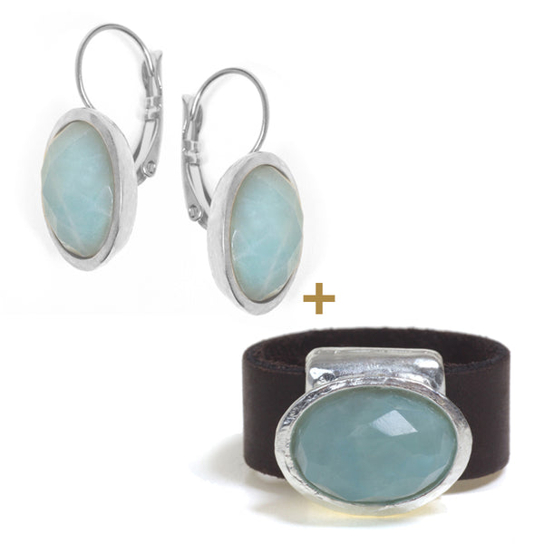 Silver plated Oval Ring and  Earrings Amazonite Set