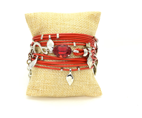 Red and sliver Ivy Bracelet - SEA Smadar Eliasaf
