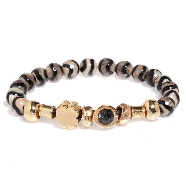 Zebra Elastic Gold Plated Agat Bracelet with Black Crystal