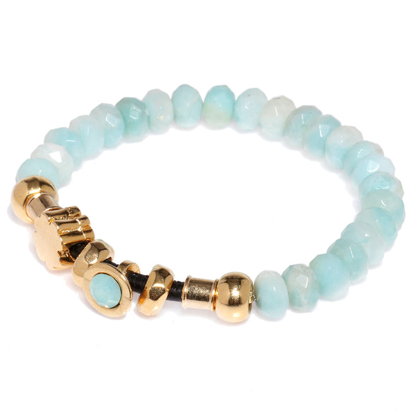 Amazonite Elastic Bracelet with Light Blue Crystal