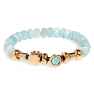 Amazonite Elastic Bracelet with Light Blue Crystal - SEA Smadar Eliasaf