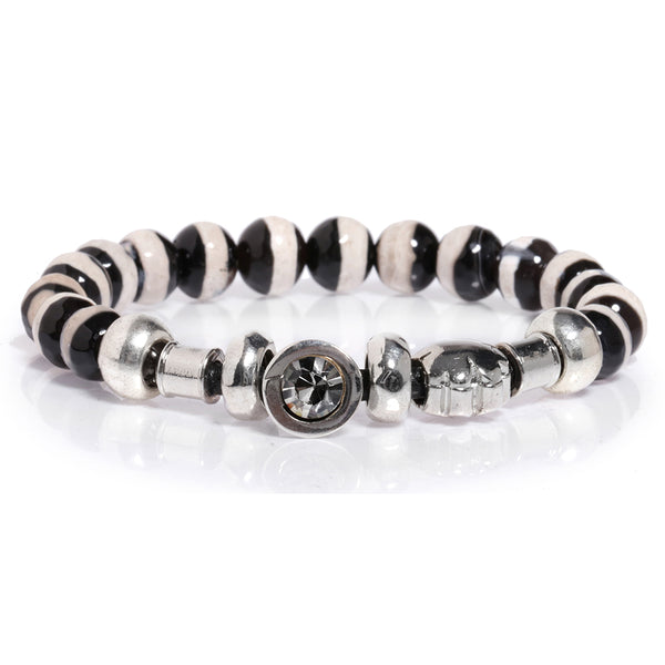 Zebra Elastic Silver Plated Agat Bracelet with Black Crystal
