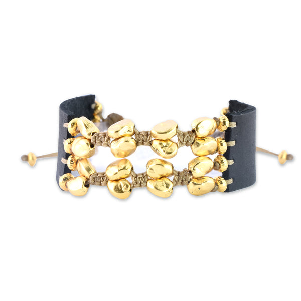 Wide Indie Bracelet - Golden