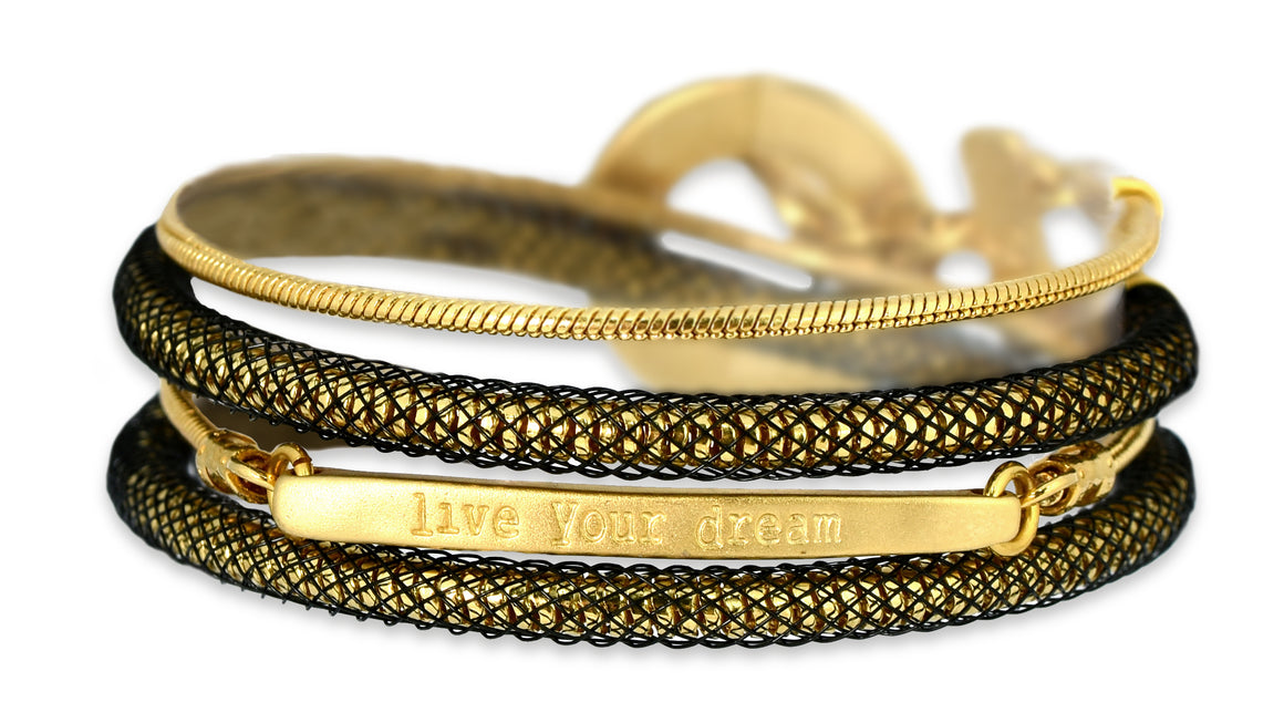 Gold Lace Live Your Dream Bracelet - SEA Smadar Eliasaf