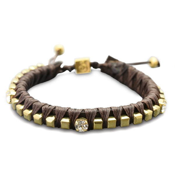 Gold & Brown Leather braceket
