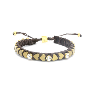 Matte Golden Heart Beats Bracelet - 3 inlays - SEA Smadar Eliasaf