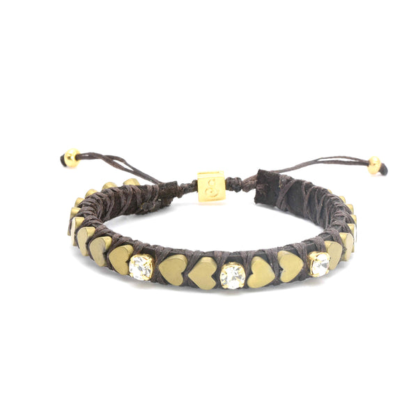 Matte Golden Heart Beats Bracelet - 3 inlays